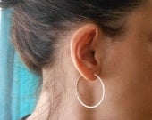 "Thin Gold Hoop Earrings, Simple Gold Filled Hoops, 1.5"" Minimal Wire Hoops, Everyday Jewelry"