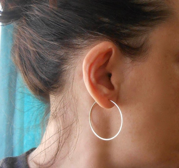Simple Gold Filled Wire Hoops, 1.5""