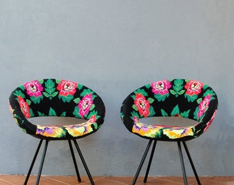 Embroidered Lounge Chair, Molded Shell Chair, Vintage Embroidery Retro Chair, Colorful Bohemian Furniture, Boho Floral Chair