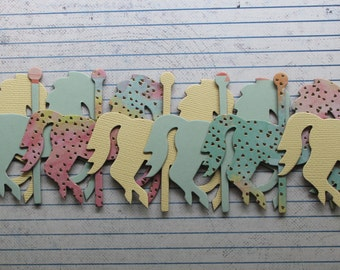 """7 small Carousel HORSES pastels green, yellow,pink chipboard covered die cuts 3 1/8"""" x 2 7/8"""" [7sAD017]"""