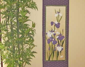 Quilted Wall Hanging Iris and Ducks Japanese Asian Design Tenugui Scroll Size