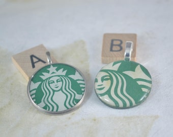 Round STARBUCKS Pendant With Or Without Chain - Choose Your Starbucks Upcycled Pendant Necklace