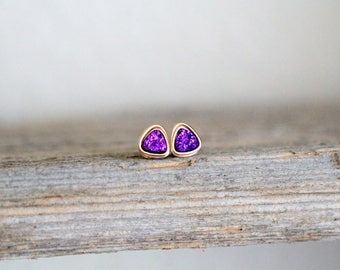 Tiny Druzy Studs , Gold , Rose Gold , Sterling Silver Purple Gemstone Post Earrings , Minimalist Studs , Gift Ideas - Micros ( Mulberry )