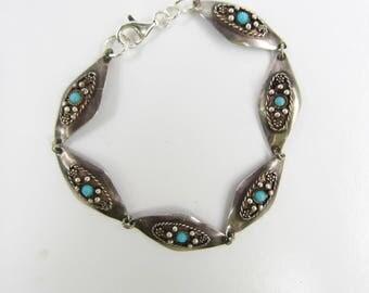 """Vintage Reuven Israel Sterling Silver and Turquoise Glass Link Bracelet - 8""""     1675"""
