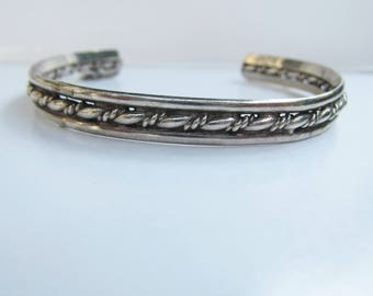 "Vintage Sterling Silver Wire Wrapped Cuff Bracelet  - 6-7""    1807"