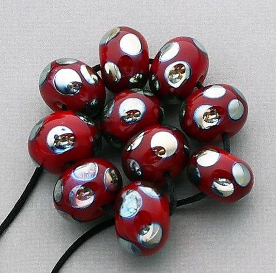 Lampwork Beads Handmade Beads Red Beads Glass Beads For Jewelry Supplies SRA Beads Glass Jewelry Beads Earring Beads Debbie Sanders