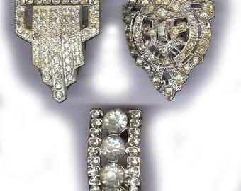 vintage dress clip art deco BOX LOT rhinestone dress clips THREE dress clips repurpose bridal focal antique dress clips