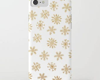 gold snowflakes iphone cover-gold and white minimalist modern iphone case-samsung phone cover-gift for her