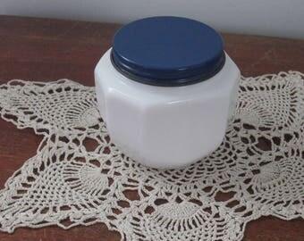 Vintage Milk glass Jar with Metal Lid Nivea Glass Jar