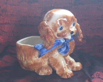 Vintage Puppy Dog Planter Indoor Planter Dog plant Holder with Big Blue Bow