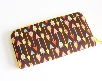 Womens zip around wallet / Checkbook Wallet / Cell Phone Wallet / Passport Wallet / Credit Card Wallet / Accordian wallet / Chocolate arrows