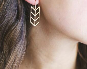 Triple Chevron Arrow Earrings - Brass | 14k Gold Filled | Sterling Silver