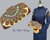 Peacock Feathers Beaded Purse Vintage 70s Glass Beaded Evening Handbag ~ Adjustable Shoulder Bag to Clutch