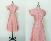 1950s Pink Day Dress --- Vintage Vicky Vaughn Dress