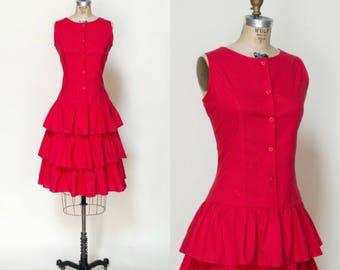 1980s Red Ruffle Dress --- Vintage Large Dress