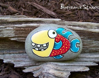 Dentist, Orthodontist, Fish, Folk Art, Original hand painted Beach Rock, Lake Erie, handpainted, earth art, reclaimed, inked, stone
