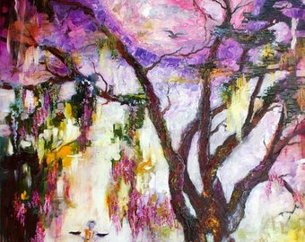 Savannah Bird Girl Pink Moon In The Garden Of Good And Evil Modern Impressionist Oil Painting by Ginette Callaway