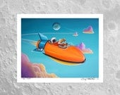 On Time - little astronaut, bear, and robot on a mission - Limited Edition Signed 8x10 Semi Gloss Print (3/10)