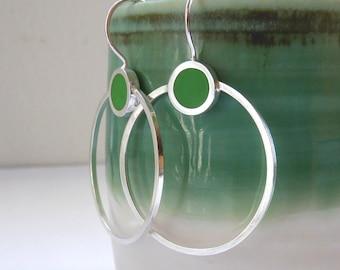Big Round Hoops - Leaf Green Hoop Earrings - Minimalist Silver Hoop Earrings - Lightweight hoops - Colour Pop Hoops - UK Jewellery