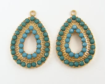 Jewelry supplies beads findings charms pendants by thebeaddreamer turquoise chandelier earring findings blue gold drop earring components aqua green teardrop charms turquoise gold mozeypictures Gallery