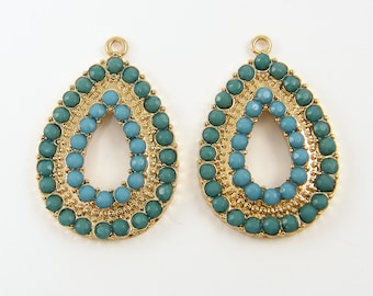 Turquoise Chandelier Earring Findings, Blue Gold Drop Earring Components Aqua Green Teardrop Charms Turquoise Gold Pendant Jewelry |B9-14|2