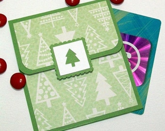 Christmas Gift Card Holder - Holiday Money Cards - Christmas Money Cards - Christmas Card, Green and White Christmas Tree Car