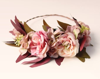 Bridal flower wreath, Autumn wedding crown, Leafy rose crown, Boho bridal wreath, Flower headpiece, Floral fall crown, Autumn flower wreath