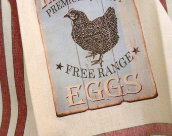 Farm Fresh Eggs kitchen towel Vintage style cotton Chicken Rooster Shabby Prairie Farmhouse ECS RDT FVGteam