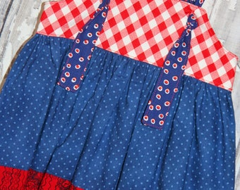 Going out of business SALE, girls knot dress ,size 12-18M girls dress, 4th of July dress,  Ready to ship