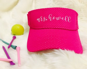 personalized mesh visor with glitter name or monogram! Bachelorette party, honeymoon, beach, tennis, girls who golf in hot pink
