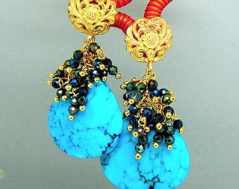 Sleeping Beauty Turquoise Briolette Black Spinel Cluster Gemstone Earrings in Vermeil Sterling Silver