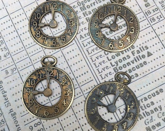 Set of 4 Pocket Watch Charms