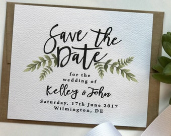 Greenery Save the Date, Printable Save the Date, Green Leaves, Botanical Greens Save the Date Card, Best Selling Items
