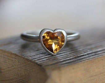 Citrine Heart Ring, Sterling Silver Golden Gemstone Ring for Her