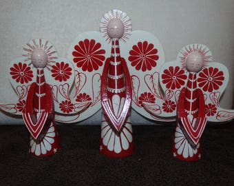 Vintage hand painted Red & White Christmas Angels, Circa 1970's, maybe Jali Denmark, Beautiful!
