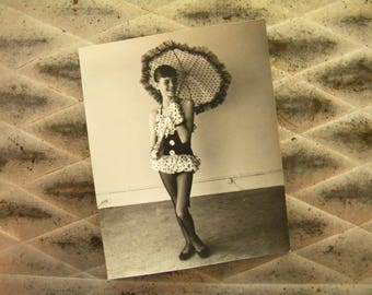 Original Vintage Photo of Young Girl with Umbrella and Polka Dot Costume
