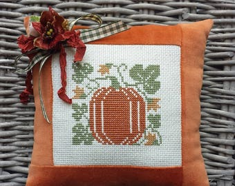 Pumpkin Jack O'Lantern Pillow Vintage Style Handmade Orange Velvet Ticking Cross Stitch Primitive Rustic Harvest Autumn Halloween Decoration