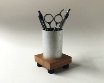 Small Pencil Cup - Office Decor - Wood Pencil Cup - Pen Holder - Metal - Recycled Wood - Office Supplies