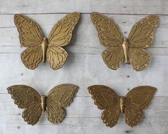 Set of 4 Gold Butterflies / Butterfly Wall Hangings / Lightweight Homco Plastic 3-D Home Decor / 1970s Boho Chic Wall Art