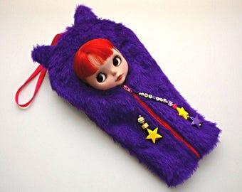Purple Cat Sleepsack Carrier For Neo Blythe Doll