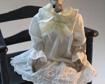 Vinegar Doll Mathilda by William Bezek, a dead Edwardian child fetal skeleton art doll.