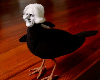 Monsieur Lafayette the Raven sculpture with human face and powdered wig by William Bezek