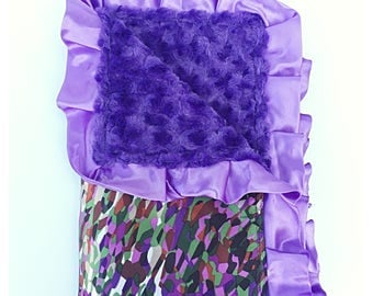 BABY GIRL BLANKET / Beautiful satin print with soft plush purple  minky swirls / Toddler blanket  / Unique baby shower  gift/ one of a kind