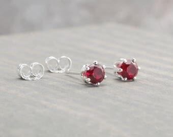 Sterling Silver Garnet Stud Earrings - January Birthstone Earrings - 4mm Studs - January Birthday - Red Earrings - Christmas Gift - Birthday