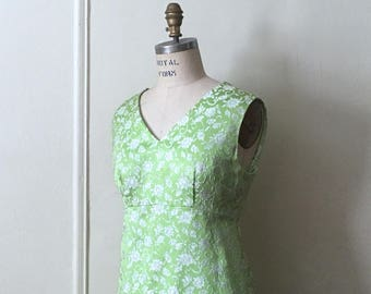 vintage 1960s chartreuse green & silver brocade maxi dress -  size extra large, xl