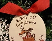 Reindeer ornament, 1st christmas ornament, personalized ornament, christmas tree ornament, my first Christmas, baby's 1st christmas