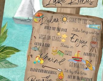 Printable Frameable 8 x 10 Summertime Seasonal Decor Life at the Lake Printable Wall Art Digital Prints Instant Download