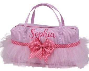 Personalized Ballet Bag Pink Seersucker Ballerina Dance Monogrammed Tulle Duffel