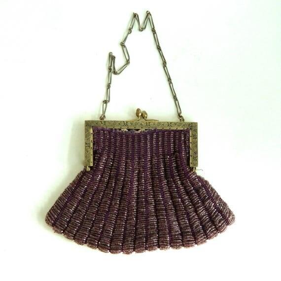 Vintage Purple Trapezoid Beaded Bag