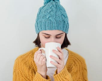 Cable Knit Chunky Beanie, Sky Blue,  READY TO SHIP